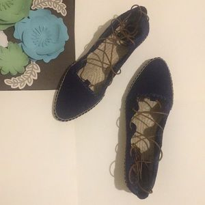 Tory Burch navy Sonoma gillie espadrille shoes